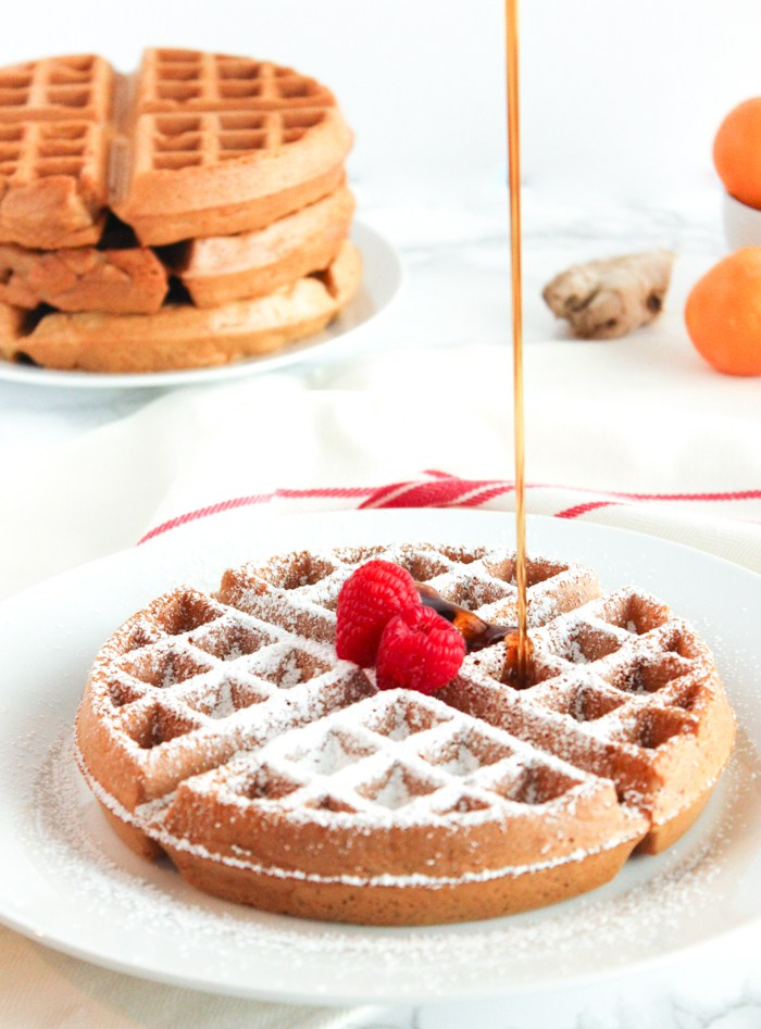romantic breakfast ideas for Valentine's Day. | Healthy Gingerbread Waffles. | ahedgehoginthekitchen.com