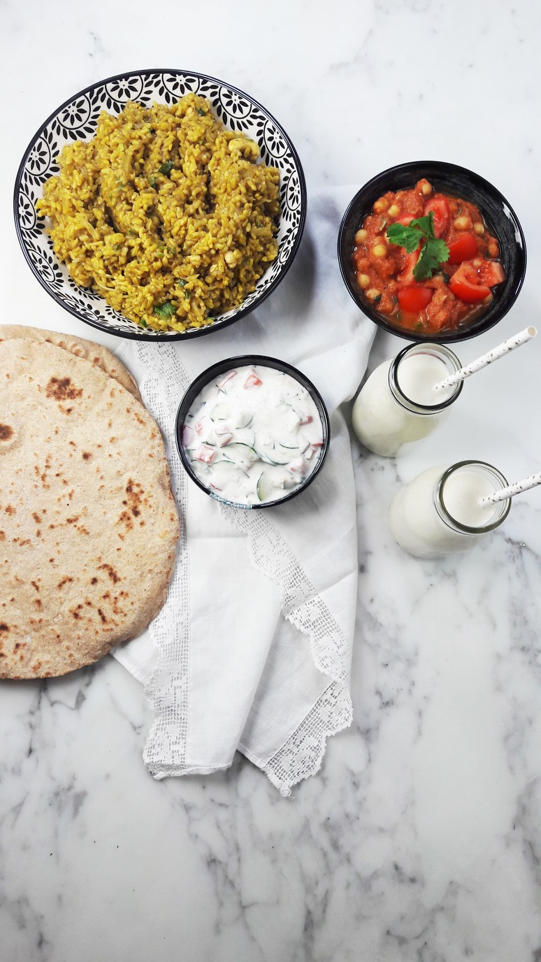 Indian recipes, cheese naan, cashew rice, chana masala, raita + lassi. | ahedgehoginthekitchen.com