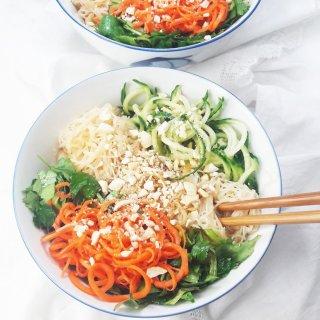 Asian spiralized vegetable noodle salad