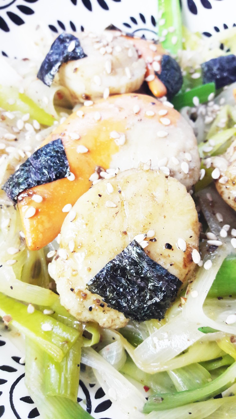 Japanese scallops with leeks and miso are a simple dinner, bursting with flavor and rich in nutrients. 10 ingredients and 30 minutes is all you need! | ahedgehoginthekitchen.com