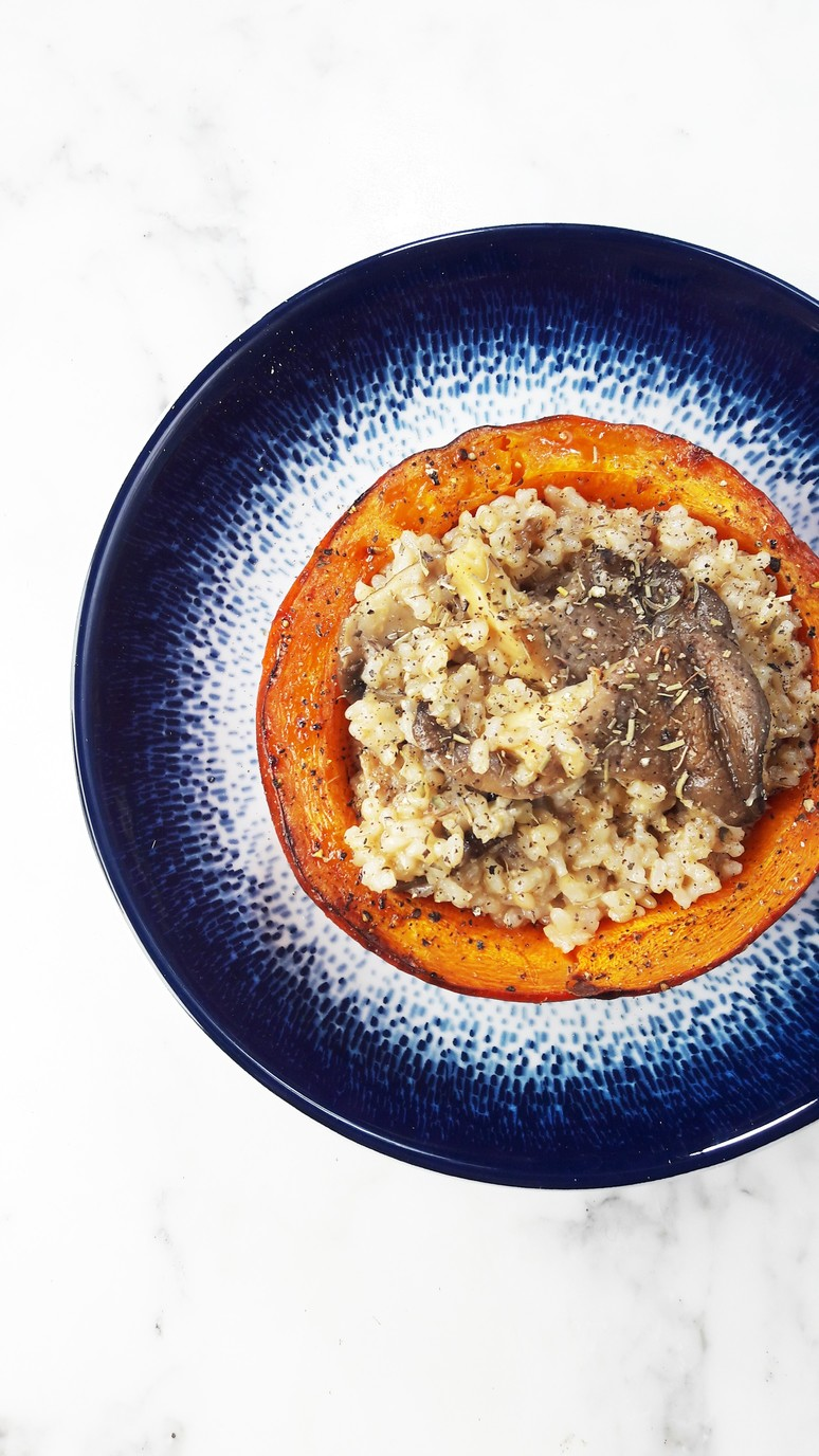 7 Pumpkin Recipes for Fall. Pumpkin Mushroom Bowls with Brown Rice.   ahedgehoginthekitchen.com