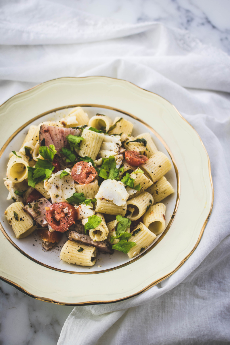 Tasty fish pasta with cod, tuna pastrami and tomatoes | ahedgehoginthekitchen.com