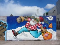 Santa on summer vacation. Painting on the graffiti wall outside Myyrmanni mall. IMG_3248C