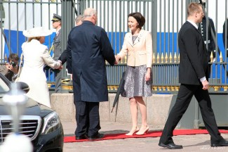 King Harald V, Queen Sonja of Norway and Mrs Jenni Haukio