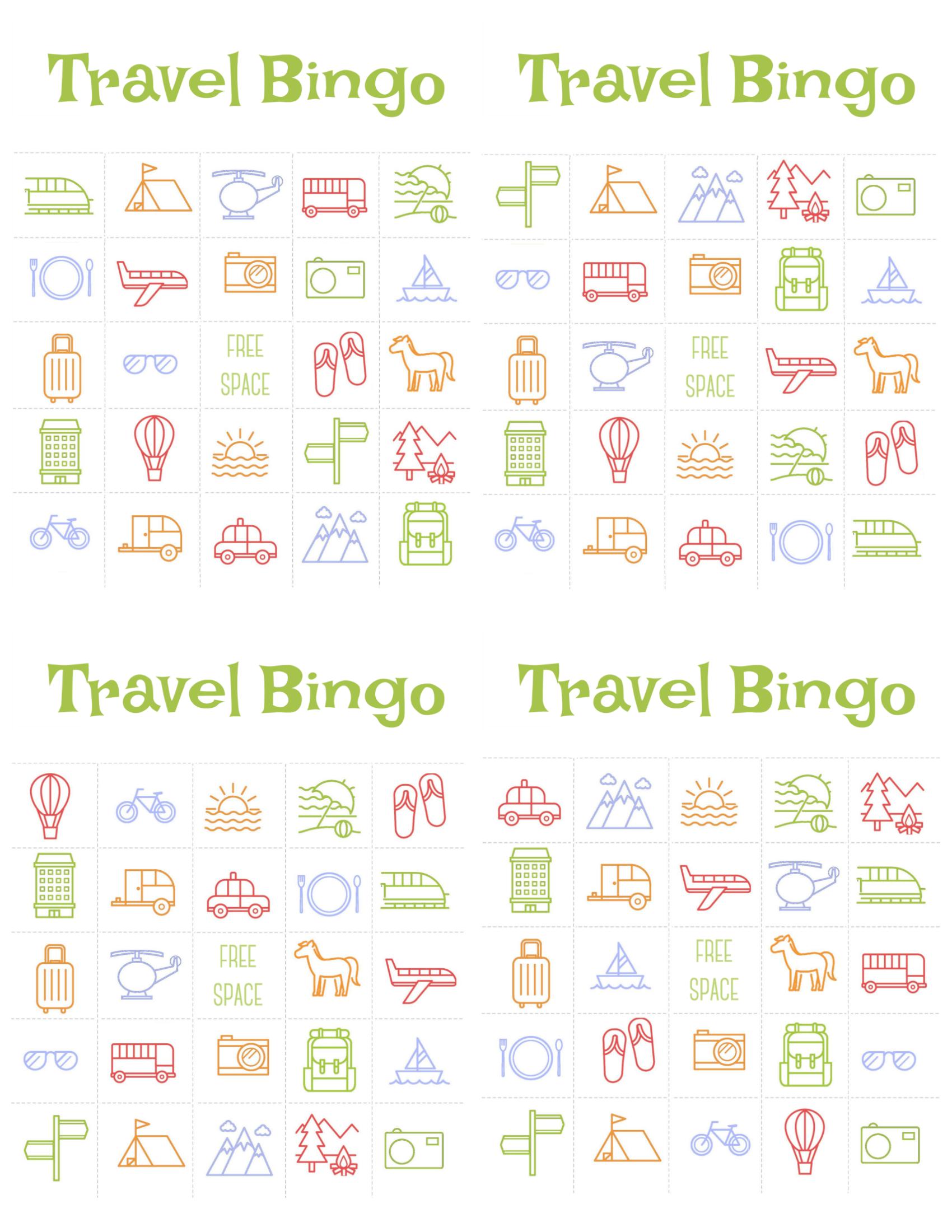 Travel Bingo Cards That Are Juicy