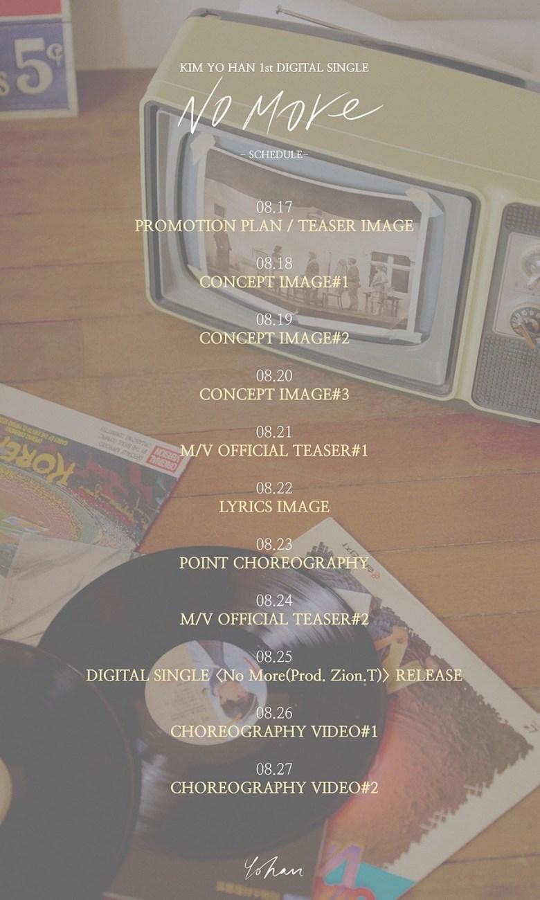 Kim Yo Han's 1st digital single 'No More' promotion plan.
