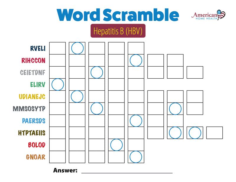 Word Scramble - Hepatitis B (HBV)