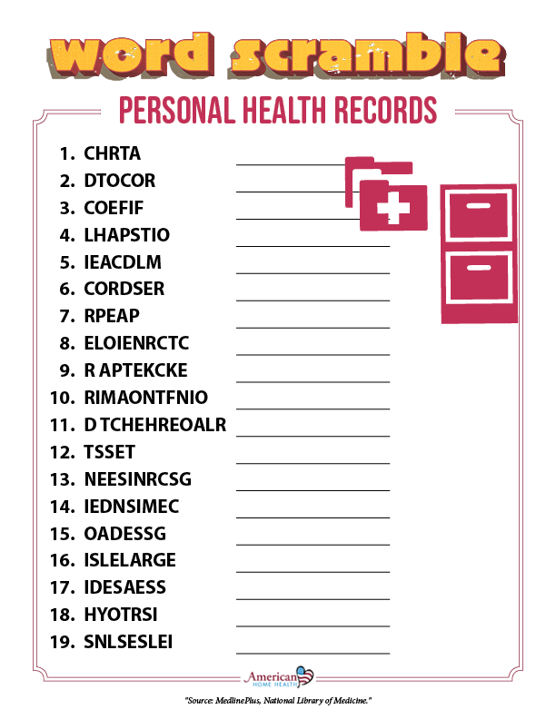 Personal Health Records - Word Scramble