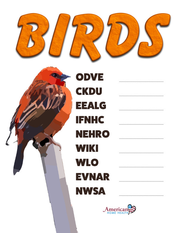 Birds - Word Scramble Puzzle for Kids