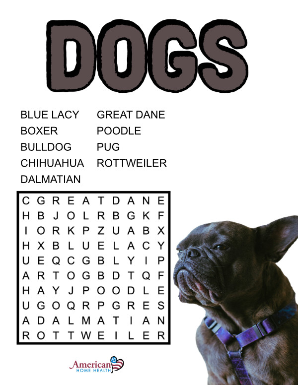 Dogs - Word Search Puzzle