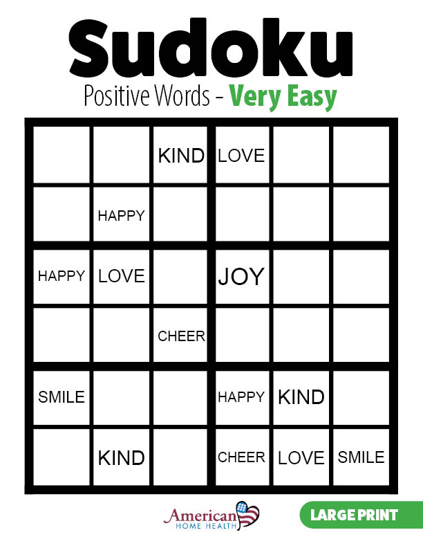 Positive Words - Very Easy - Sudoku