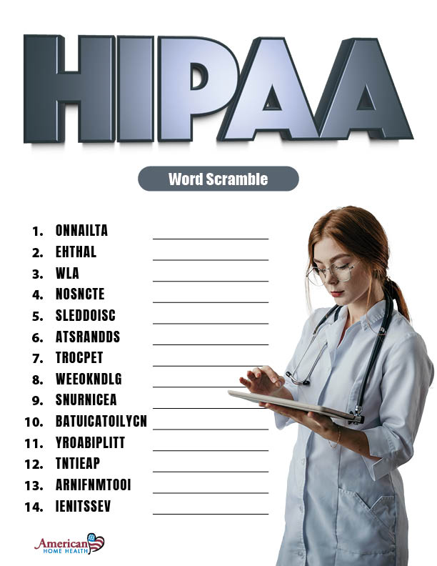 HIPAA - Word Scramble Puzzle