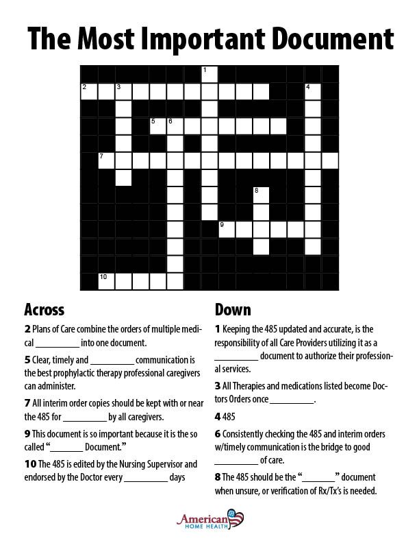 The Most Important Document - Free Form Crossword