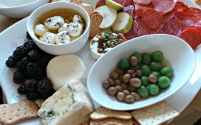 Meat, Cheese, Fruit, and Olive Platter