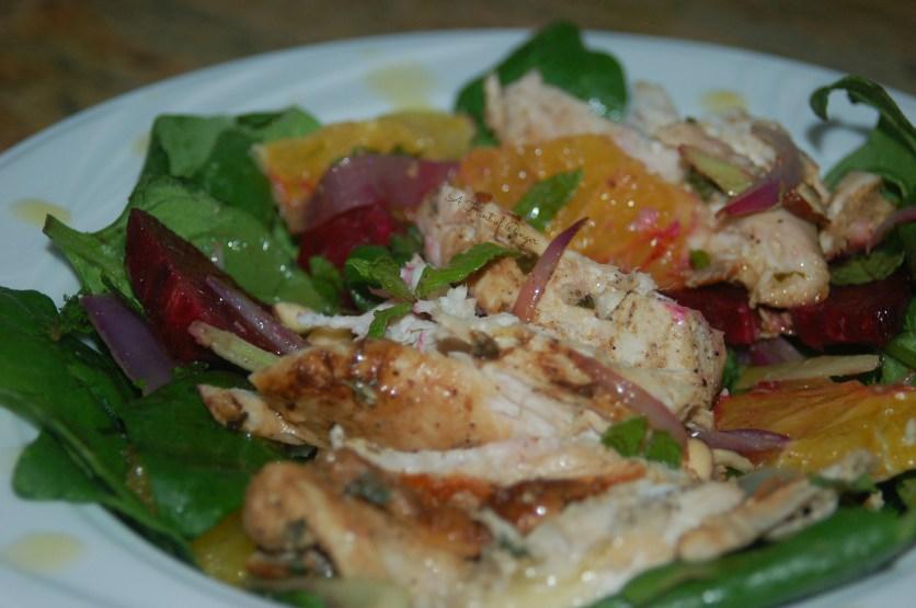 Coriander and Lemon Chicken Over Beet, Orange, and Fennel Salad