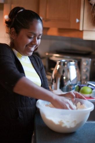 kneading dough for tortillas