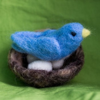 Needle Felted Blue bird and Nest with eggs