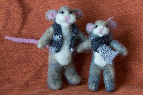 Needle Felted Mice: Dad and Son