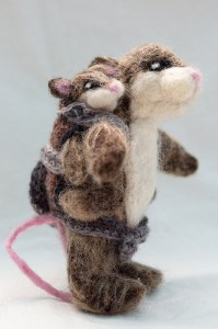 Needle felted parent and child with Crocheted Mei Tai