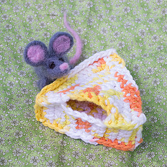 Crocheted cheese and needle felted mouse