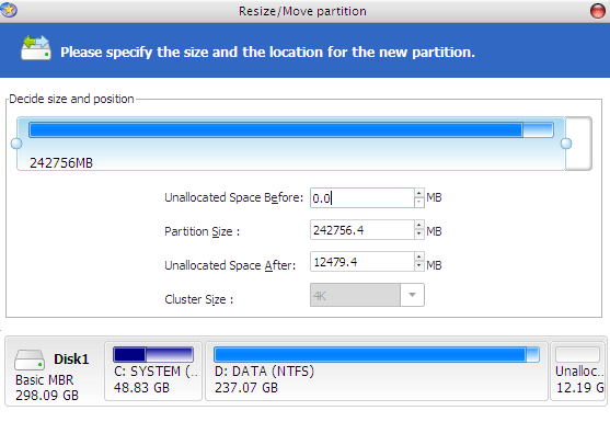 Specify Resized Partition Size