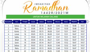 Jadwal Imsakiyah Ramadhan Calang 2021