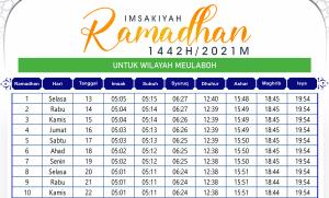 Jadwal Imsakiyah Ramadhan Meulaboh 2021
