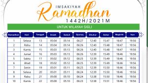 Jadwal Imsakiyah Ramadhan Sigli 2021