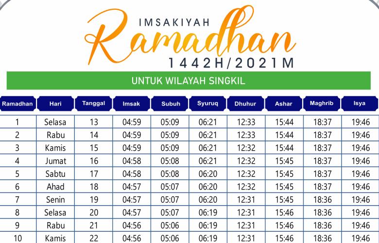 Jadwal Imsakiyah Ramadhan Aceh Singkil 2021