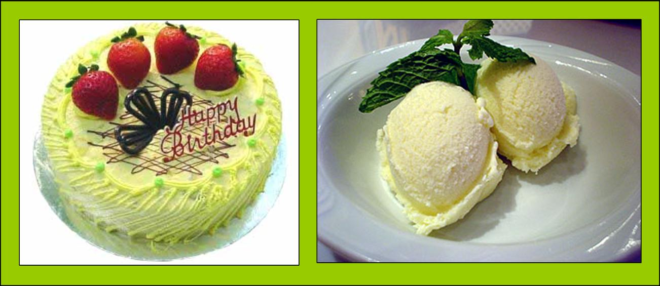 The picture on your left is a durian cake and the picture on the right is a durian ice cream