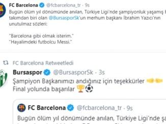 3 BARCELONA VE BURSASPOR İBRAHİM YAZICI TWİTLERİ