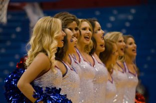 Rock Chalk Dancers sing the national anthem at the women's basketball game against Fort Hays State on Oct. 30. The Jayhawks won 98-71. Ashley Hocking/KANSAN