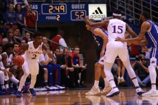 Guard Lagerald Vick, a sophomore from Memphis, Tennessee, dribbles the ball during the second half of the game on Nov. 25. Kansas beat UNC Asheville 95-57 at Allen Fieldhouse. Ashley Hocking/KANSAN