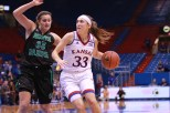 Guard Kylee Kopatich, a sophomore from Olathe, dribbles the ball away from North Dakota player Fallyn Freije during the first half of the game on Nov. 27. Kansas won 76-71 in overtime. Ashley Hocking/KANSAN