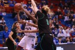 Guard Jayde Christopher, a sophomore from Federal Way, Wash., prepares to shoot a basket during the first half of the women's basketball game on Nov. 27. Kansas beat North Dakota 76-71 in overtime. Ashley Hocking/KANSAN