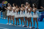 The University tennis team cheers for one another as their names are announced before the match against Saint Louis at the Jayhawk Tennis Center on Jan. 20. The Jayhawks beat Saint Louis 6-1. Ashley Hocking/KANSAN