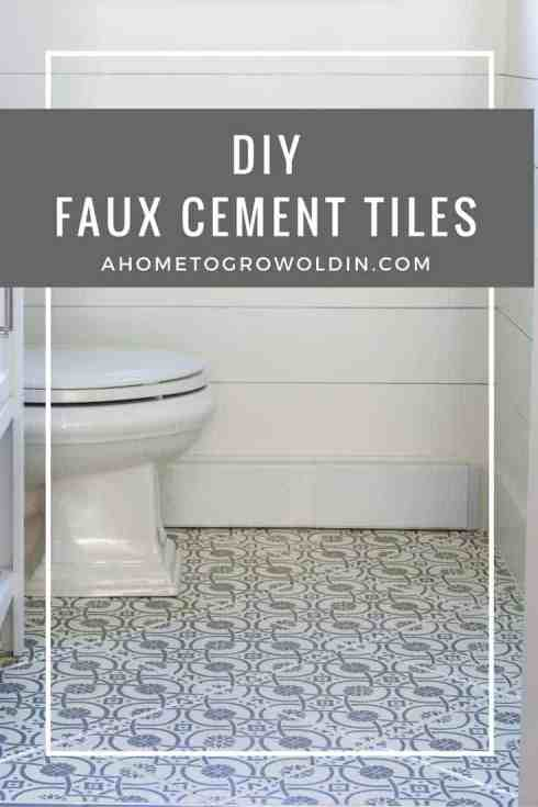 Do you love the bold patterns of cement tiles? Learn how to turn your tile floor into beautiful faux cement tiles that look just like the real thing! It's an easier DIY than you think!