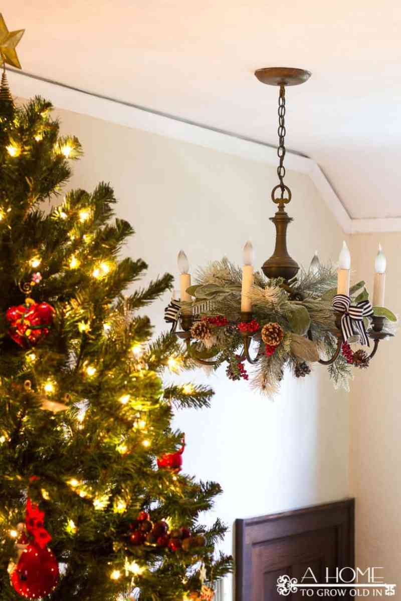 christmas chandelier decorations greenery vintage christmas holiday home tour with beautiful decor