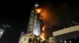 Gran Incendio Devora un Rascacielos en Dubai, United Arab Emirates