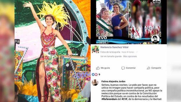 """Reina del Carnaval cruceño, molesta por uso político de su imagen por concejal masista: """"Yo no apoyo la reelección porque va en contra de la Constitución"""""""