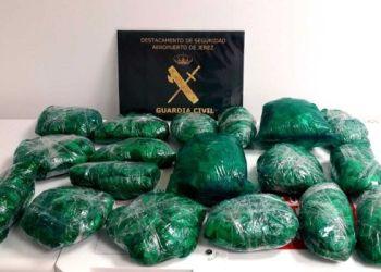 La Guardia Civil presentó los envoltorios con las hojas de coca encontrados en el equipaje de la boliviana. Foto: 20minutos.es