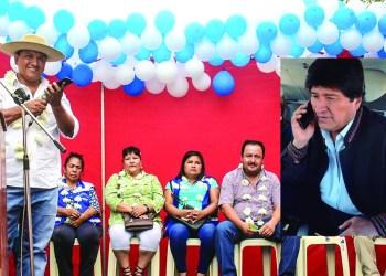 Foto compuesta: Crédito Página Siete (acto de entrega) e internet (Evo Morales)
