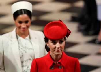 Britain's Kate, Duchess of Cambridge, and Meghan, Duchess of Sussex leave after attending the Commonwealth Service at Westminster Abbey in London, Monday, March 11, 2019. Commonwealth Day has a special significance this year, as 2019 marks the 70th anniversary of the modern Commonwealth - a global network of 53 countries and almost 2.4 billion people, a third of the world's population, of whom 60 percent are under 30 years old. (AP Photo/Kirsty Wigglesworth, pool)