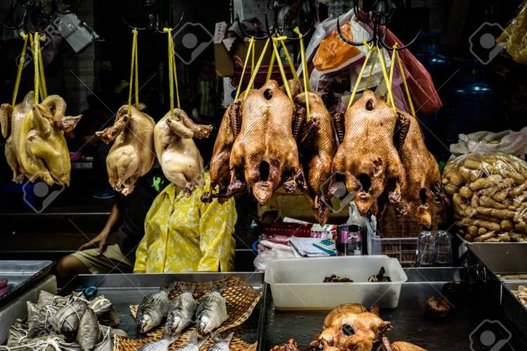 Asian street food in chinese market in Thailand