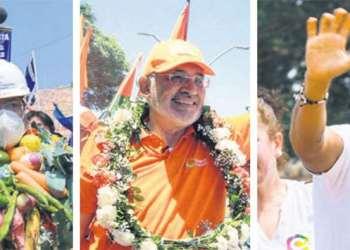 Luis Arce, Carlos Mesa y Fernando Camacho. Crédito foto. El Deber