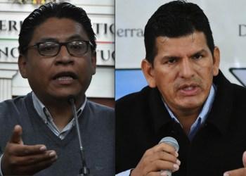Los ministros Iván Lima y Wilson Cáceres. Fotos- APG y ABI
