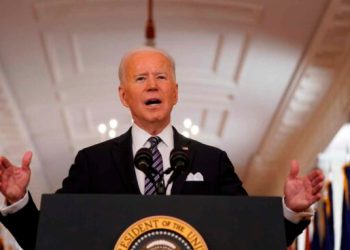 Washington (United States Of America), 11/03/2021.- US President Joe Biden delivers a nationally televised address to the nation on the one-year anniversary of the COVID-19 pandemic shutdown in the East Room of the White House in Washington, DC, USA, 11 March 2021. (Estados Unidos) EFE/EPA/Chris Kleponis / POOL