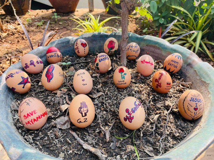 Easter eggs are painted with slogans from the protests against the military coup, in Mandalay, Myanmar April 3, 2021 in this picture obtained by Reuters from social media. THIS IMAGE HAS BEEN SUPPLIED BY A THIRD PARTY. NO RESALES. NO ARCHIVES.