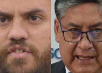 El ministro de Gobierno, Eduardo Del Castillo, y fiscal general Juan Lanchipa. / Fotocomposición: Página Siete.
