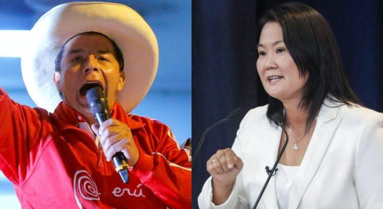 Keiko Fujimori y Pedro Castillo, candidatos en las elecciones de Perú.